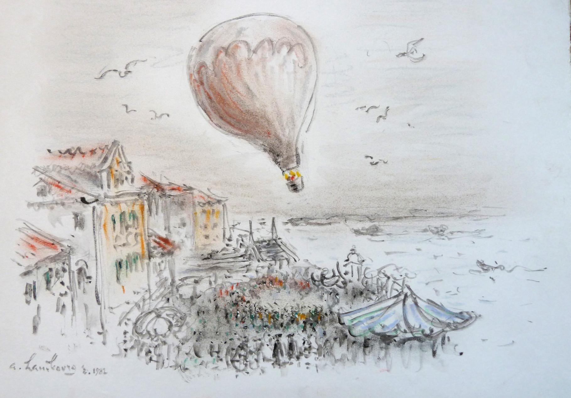 1982 Venise la Montgolfiere Pastel