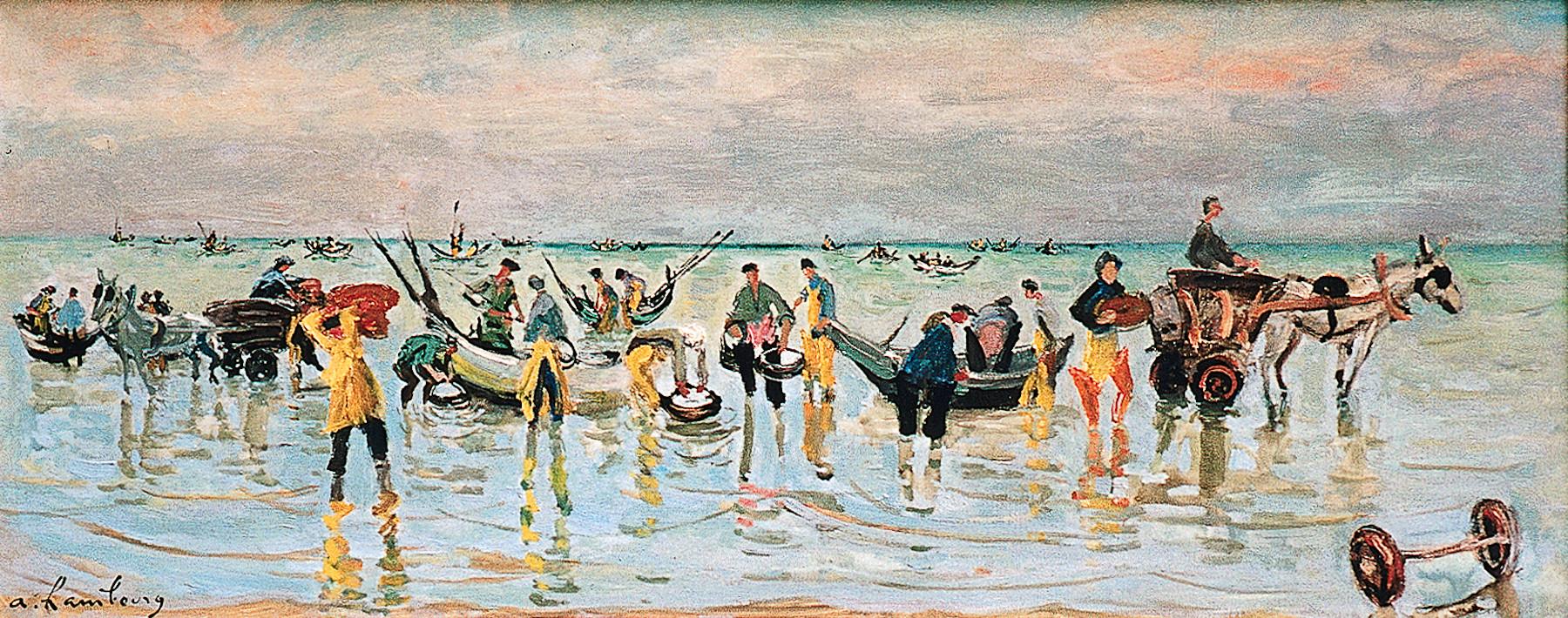 «Le retour des pêcheurs» 1959, localisationInconnue, 40cmx100cm, GP 55