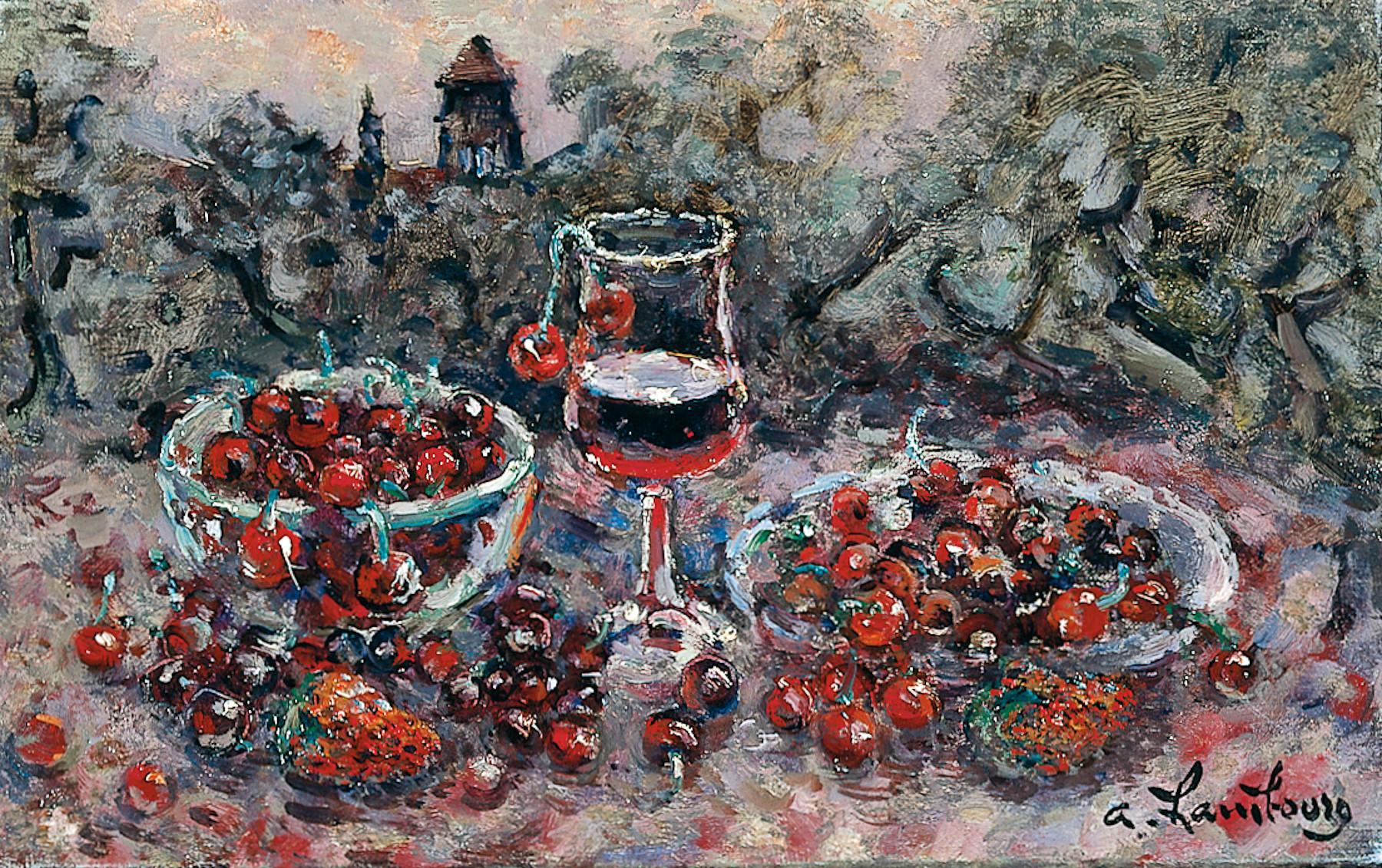 «Cerises, deux fraises et vin rouge» 1985, 22cmx35cm, VS113