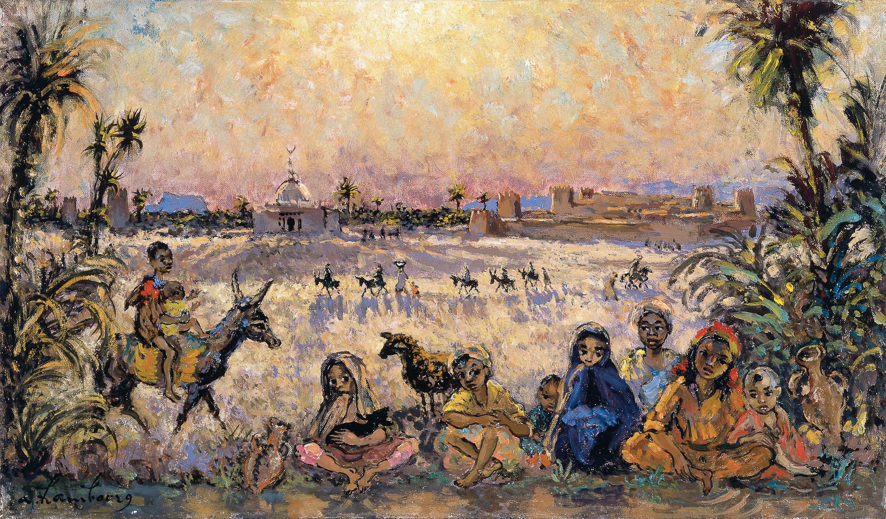 """"""" Le Sud, «Les enfants et les fillettes près de la palmeraie 1966» 27x46cm, MG156"""