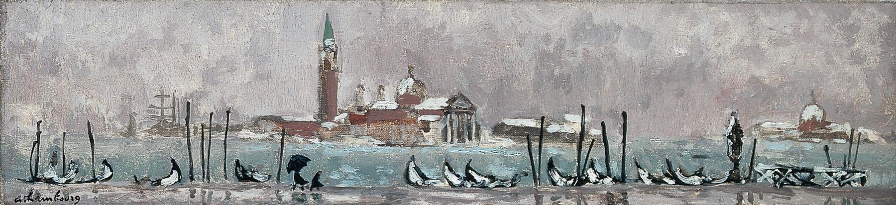 «Neige à Venise ou les gondoles sous la neige» 1958, 12cmx50cm,VE17