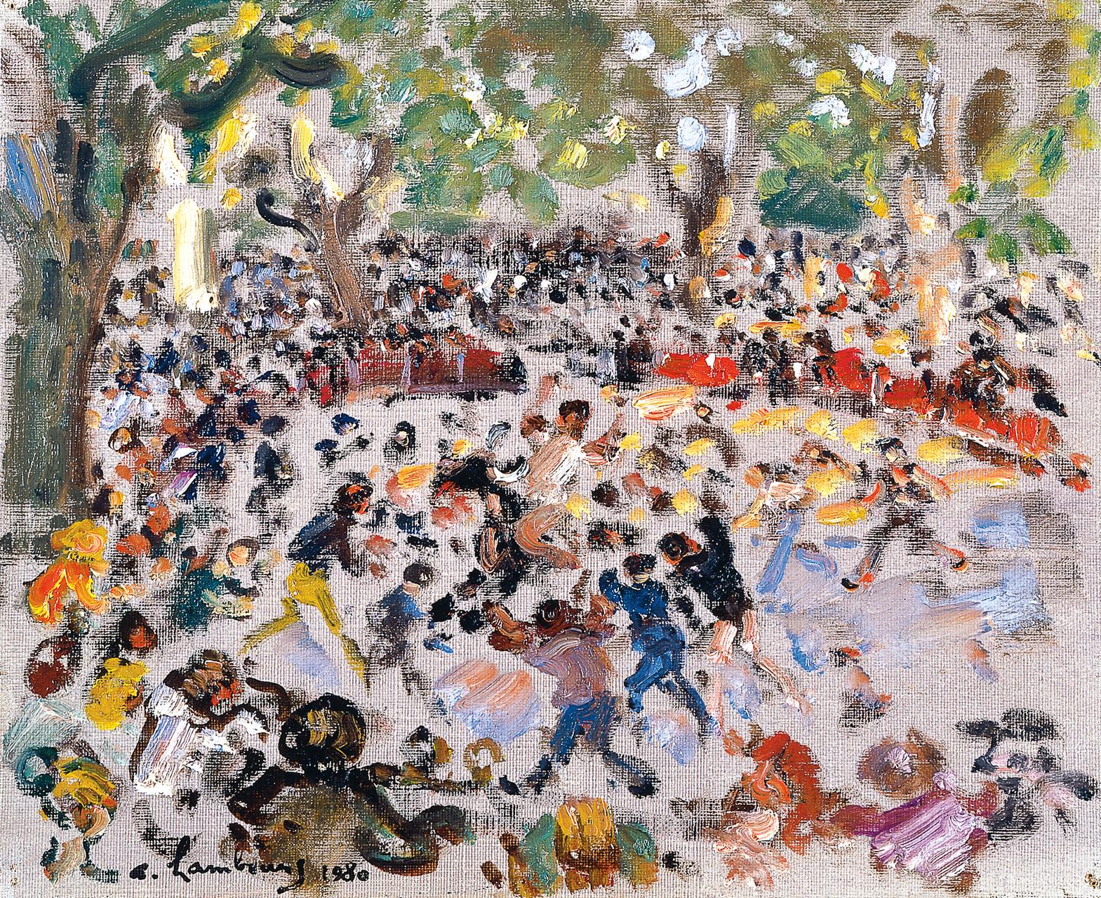 «Les vachettes aux arènes Barnier à Saint-Rémy-de-Provence» 1980, 22cmx27cm, SR 68