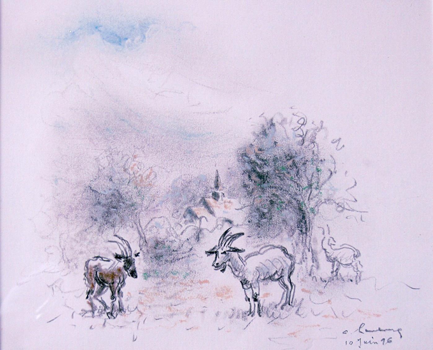 1996 mes 3 chèvres Pastel
