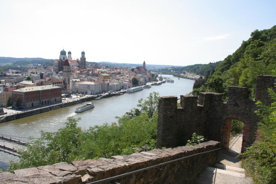Blick auf Passau von der Veste Oberhaus