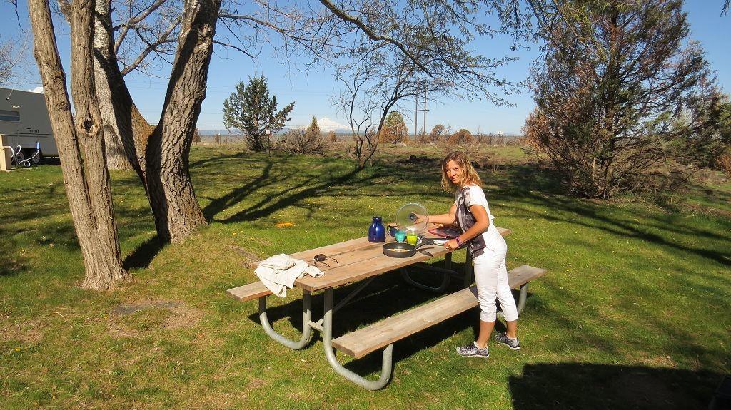 Frühstück auf dem Campground