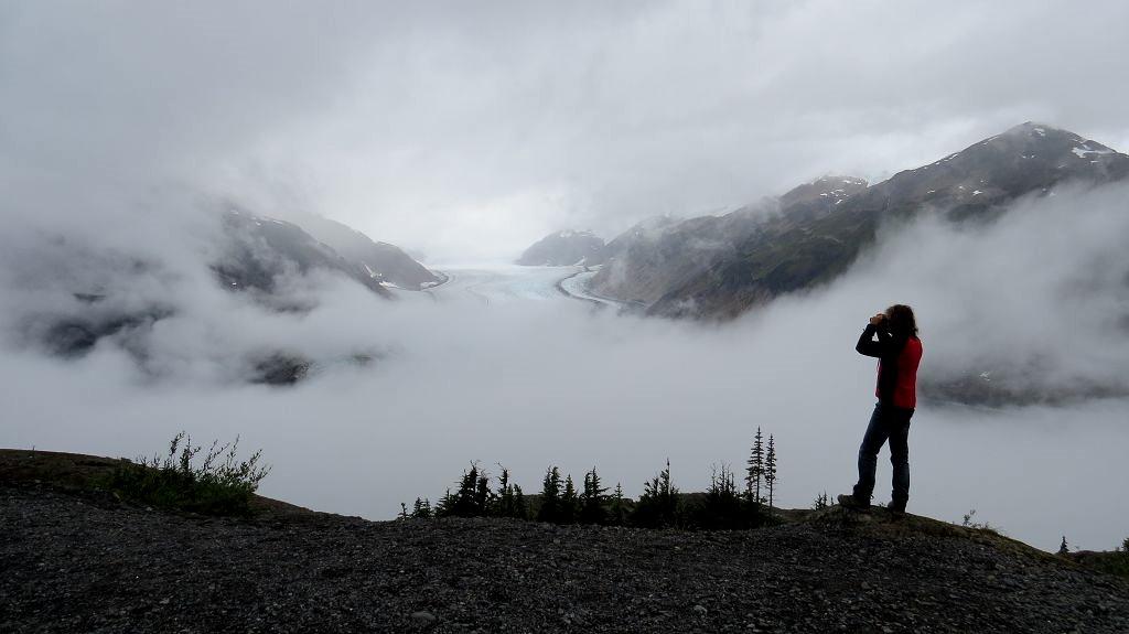 ...leider liegt der Salmon-Glacier unter den Wolken