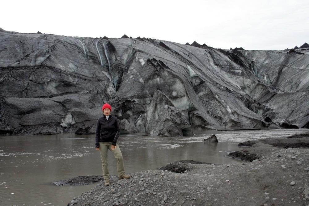 Die schwarze Gletscherzunge Solheimajökull