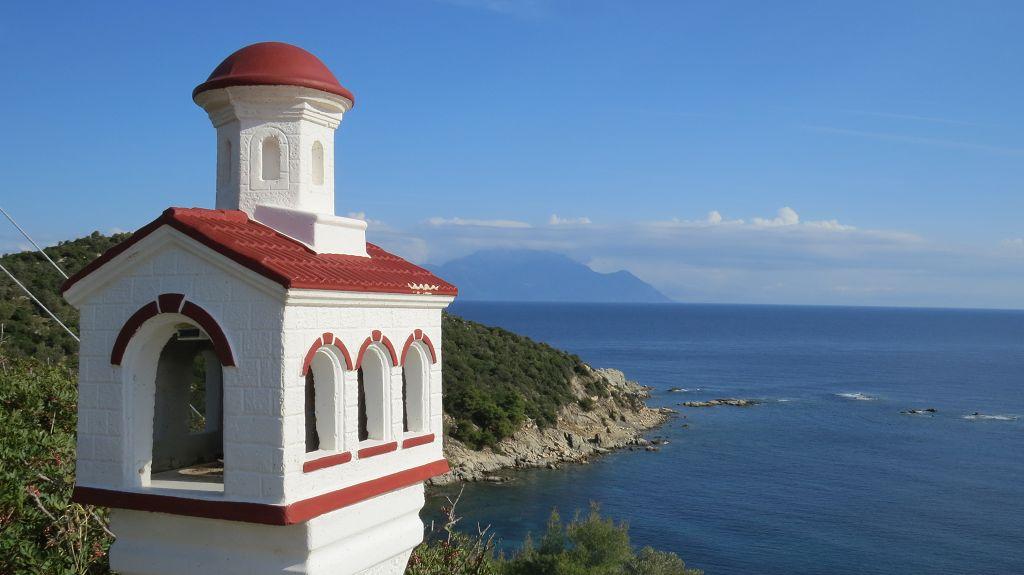 Blick über den Singitischen Golf bis zum Berg Athos