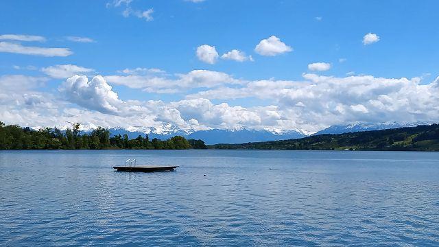 Blick über den See zu den Alpen