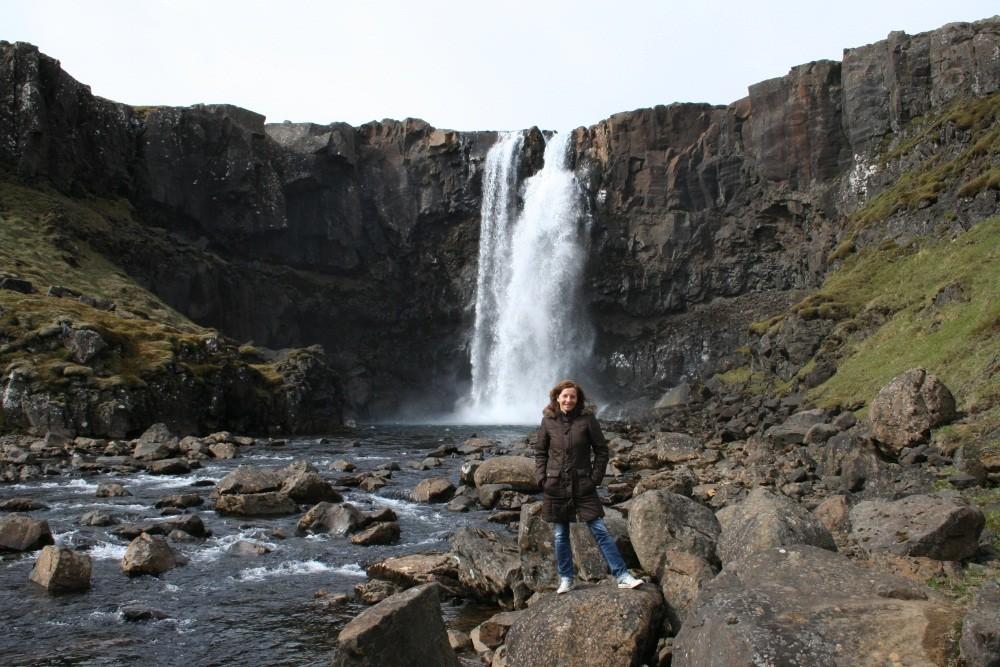 Unser erster isländischer Wasserfall, der Gufufoss