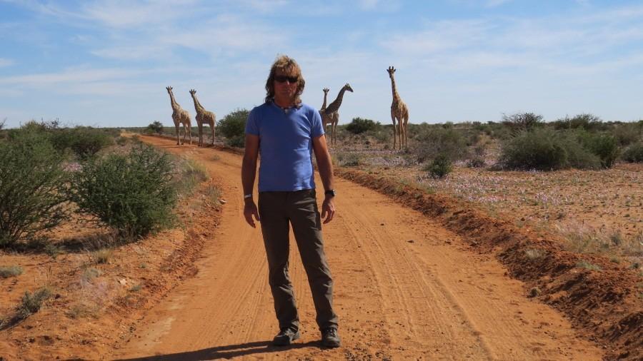 Axel mit Giraffen
