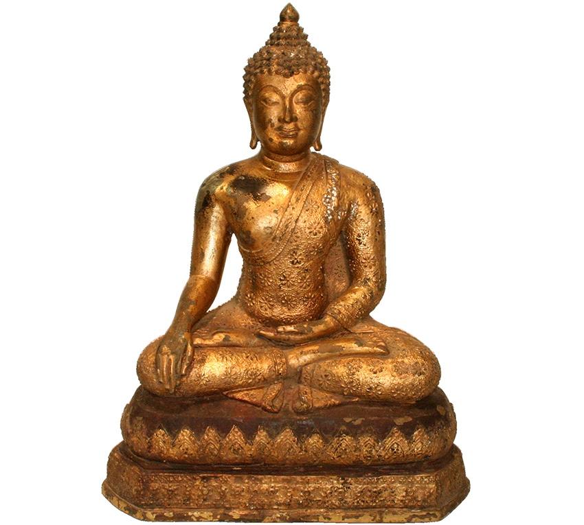 sitzender Bronze - Buddha auf Flammenthron