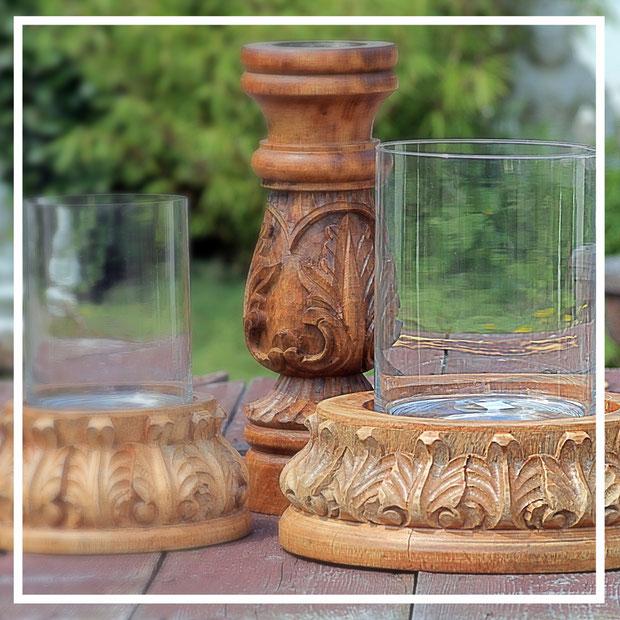 Kerzenständer aus Holz mit Glasaufsatz - Geschenkideen und Dekorationsideen
