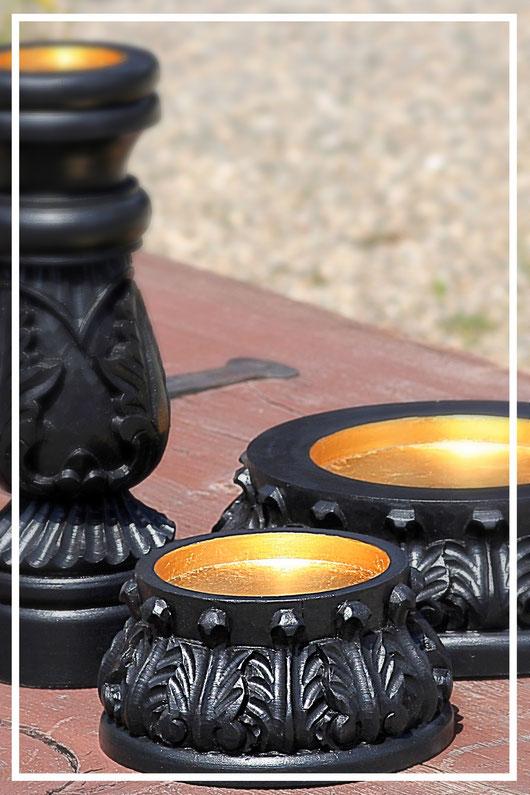 Kerzenständer aus Holz schwarz lackiert - Geschenkideen und Dekorationsideen