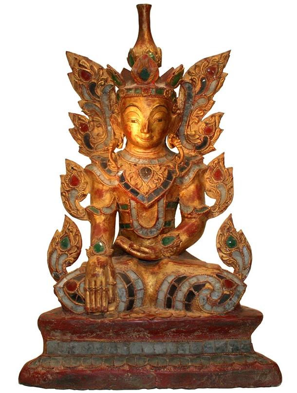 sitzender Königsbuddha aus Burma