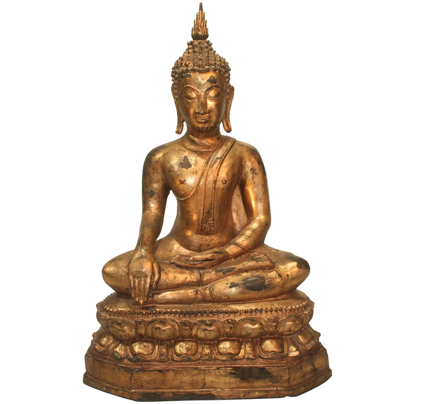 sitzender Bronze - Buddha auf Lotosblumenthron