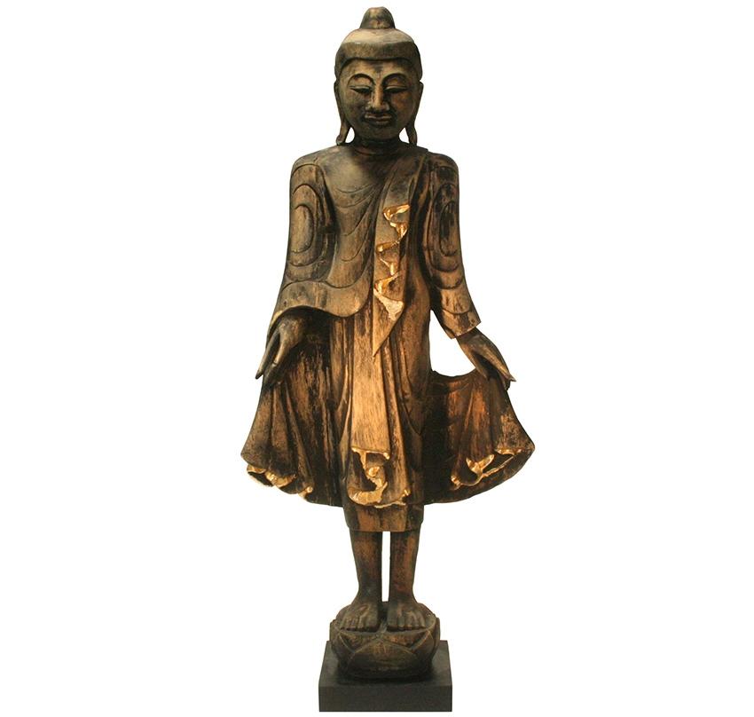 stehender Buddha aus Teakholz