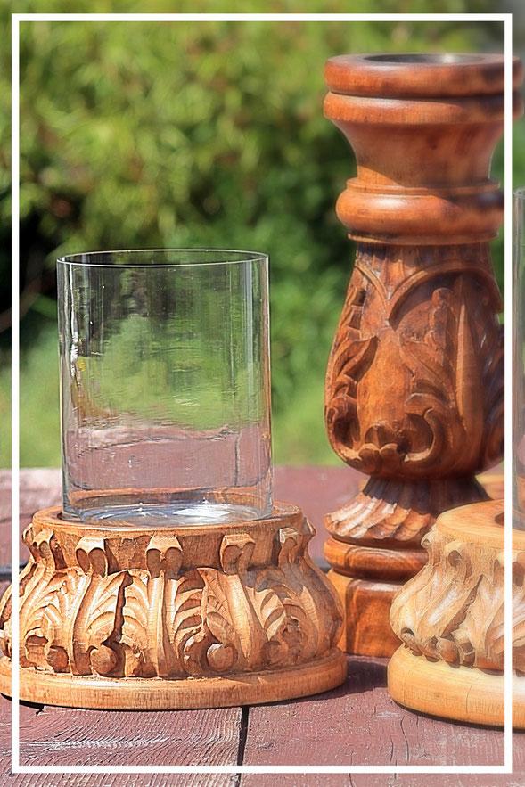 Kerzenständer aus Holz natur - Geschenkideen und Dekorationsideen