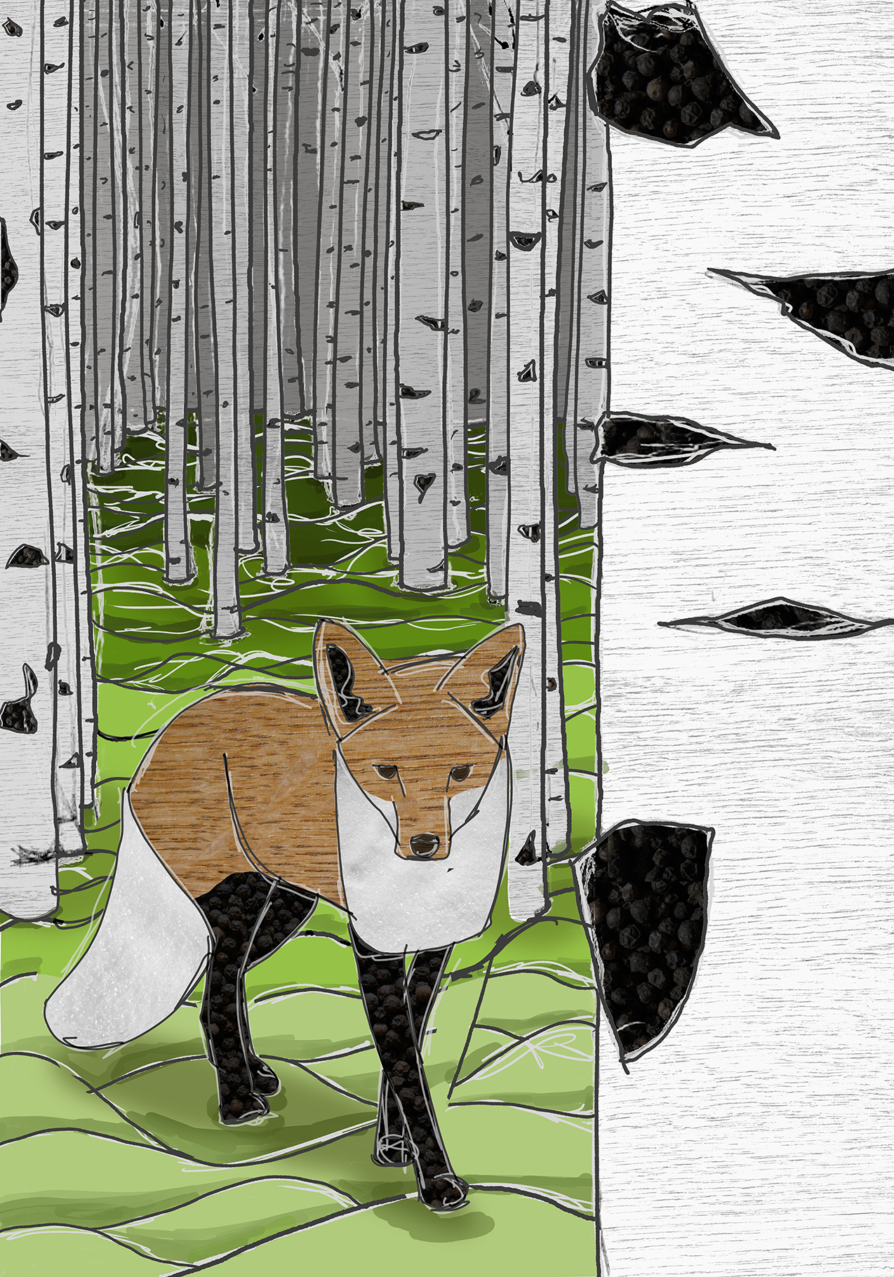 Fuchs im Birkenwald, Digital Painting/Collage