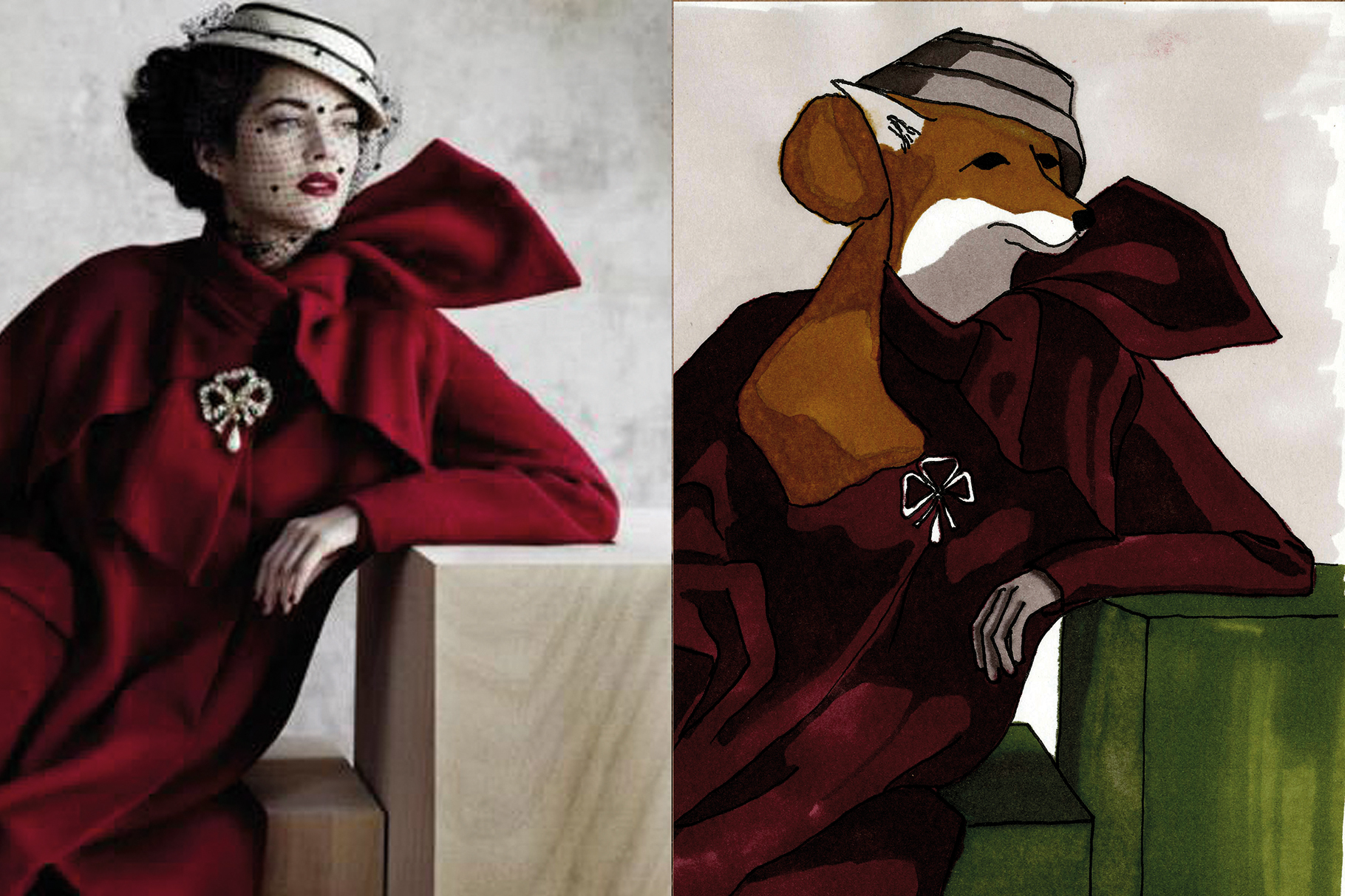Studie: Links Kleid Dior Winterkollektion 1948/1949. Rechts: Fuchsi Filzstift