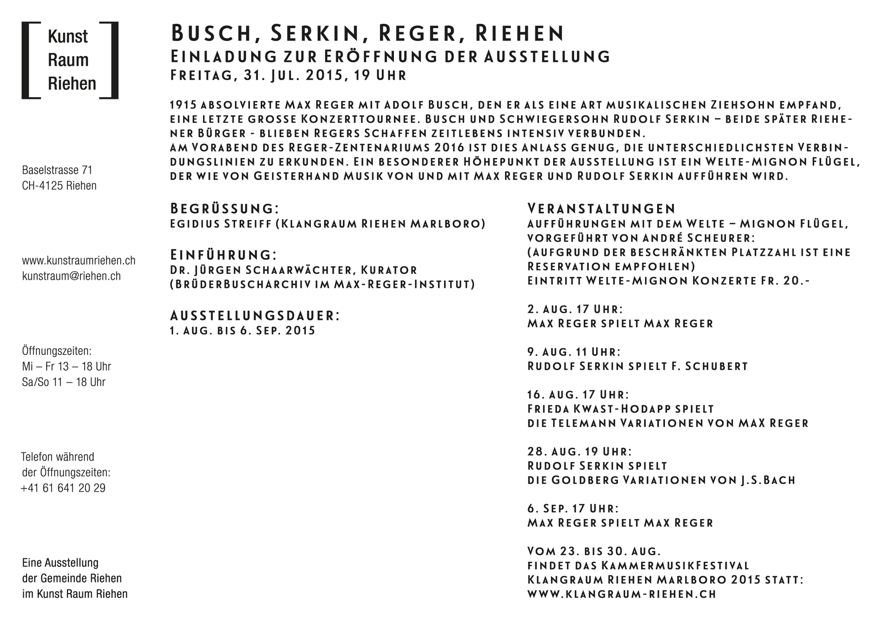 Klangraum Riehen Marlboro, Ausstellung, Flyer A5 Rückseite