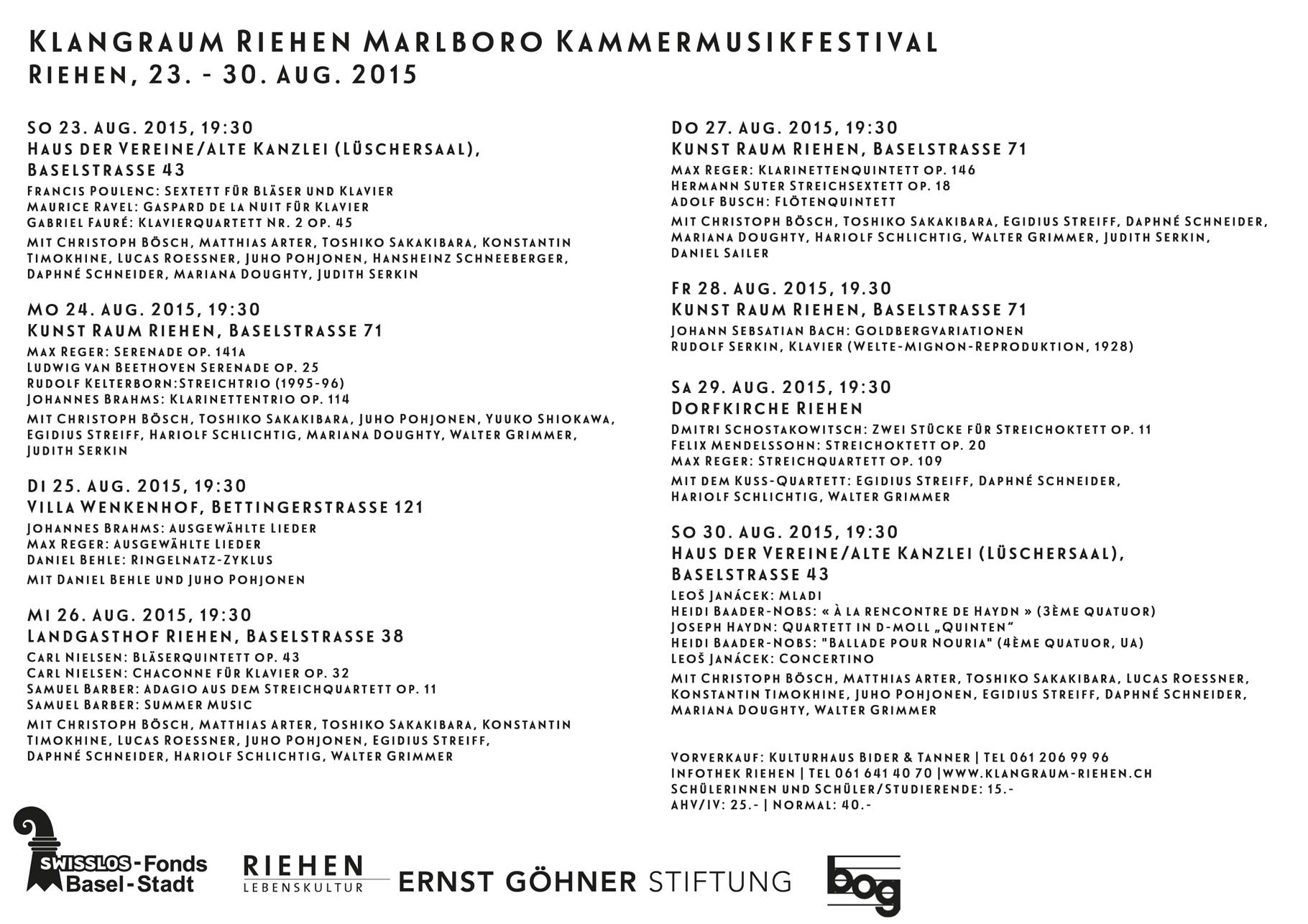 Klangraum Riehen Marlboro, Konzertreihe, Flyer A5 Rückseite