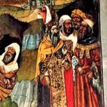 """Jüdische estalten auf dem Sankt Michael Altarretabel aus Castello d´Empúries -prächtig gewandet, aber als """"dunkelmänner"""" dargestellt (Ausschnitt - Kunstmuseum Girona)"""