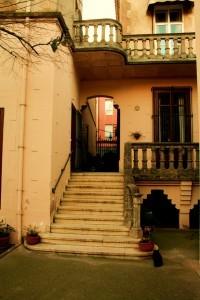 Eingang in die Villa vom Garten her