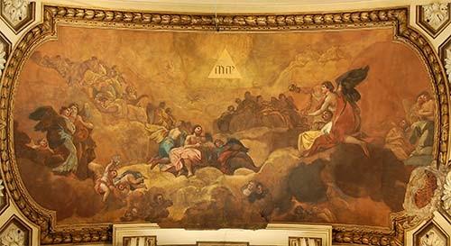 Goya: Anbetung des Namens Gottes (Deckengemälde). Rechts unten ist der Bombeneinschlag zu sehen!