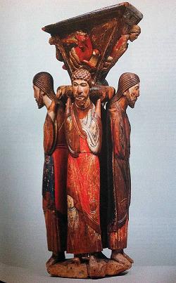 Stadkirche Freudenstadt: Die vier Evangelisten stützen einen Lesepult (12. Jahrhundert, Holz - Quelle: carpetmoss.wordpress.com))