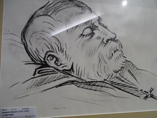 Gaudí auf dem Totenbett (Zeichnung: Museum)