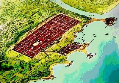 """Übersichtsplan des alten """"Municipium emporiae"""", rechts die griechischen Siedlungen, links die römische Stadt. (Nach einem Bodenbild im Museum)"""