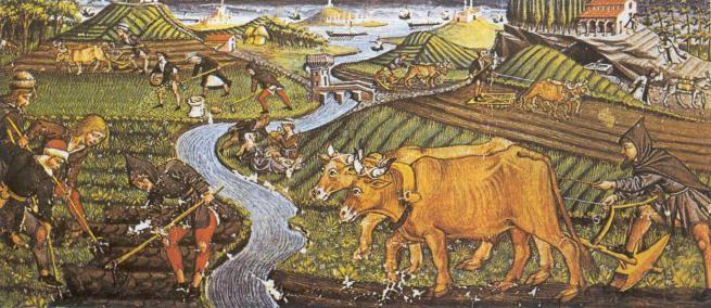 Bauern (Morisken?) bei der Arbeit ( am Ebro?)