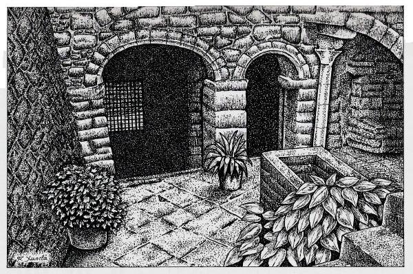 Innenhof der Casa Colls-Labayen. Ursprünglich als Abbild des kabbalistischen Lebensbaumes gestaltet ( mit Toren und Brunnen als Sephirot, Wege als Verbindungen zwischen den Sephirot (Bild: Pedres de Girona)