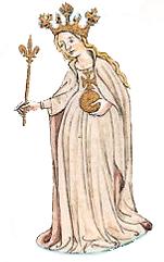 Petronila - mit den Königsinsignien ( aus einer Genealogie der Könige von Aragon unter Martin I. )