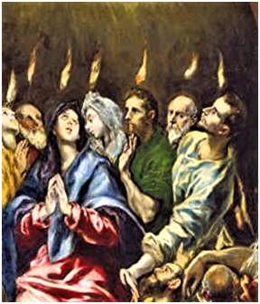 El Greco: Ausgießung des Heiligen Geistes - Ausschnitt