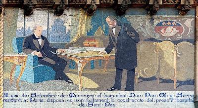 Pau Gil (rechts) macht 1892 in Paris sein Testament. Mosaik an einer Seitenfront des Administrationsgebäudes