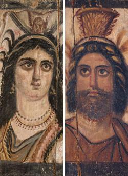 Isis und Serapis -sehr menschlich. Griech.-röm. Holzmalerei, um 200, J.P. Getty-Museum, Malibu, USA