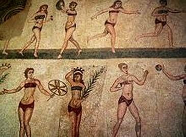 Frauen betreiben sportliche Übungen im Bad - Mosaik in der römischen Villa Casale, Sizilien (Quelle: wiki)