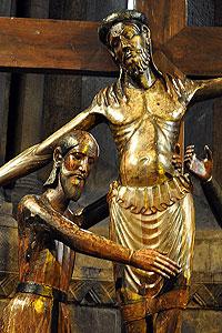 Detail aus der Figurengruppe: Josef von Arimathäa umfasst Jesus