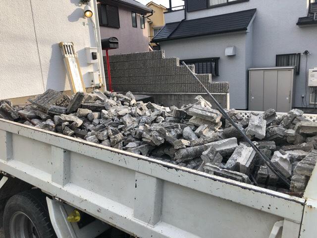 ブロック塀の解体工事廃材