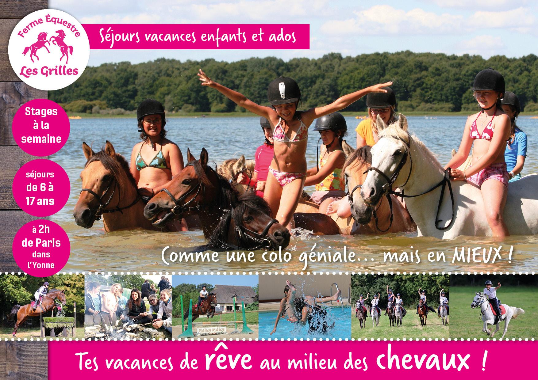 Publicité diaporama stages d'été, Ferme Equestre des Grilles