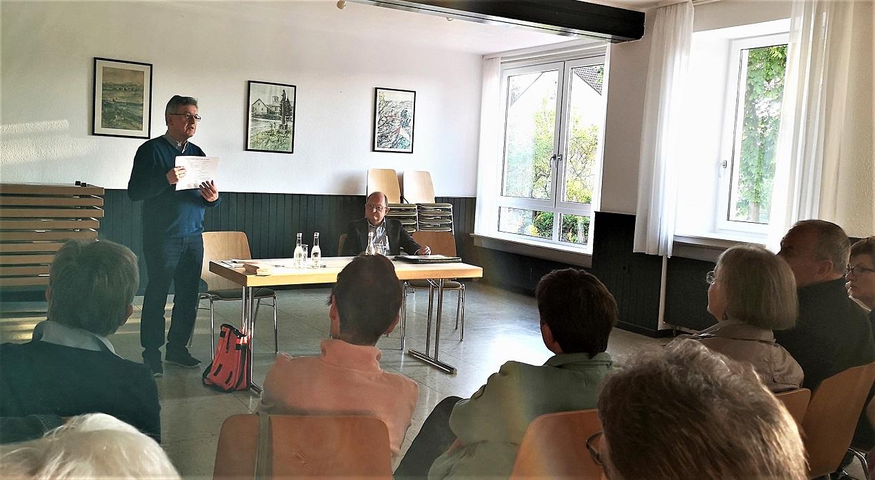 Mai 2019 - Josef Staufer und Dr. Greiner vom Palliativförderverein Hand in Hand als Referenten bei der Guttempler Gemeinschaft Vorderrhön im DGH Nüst