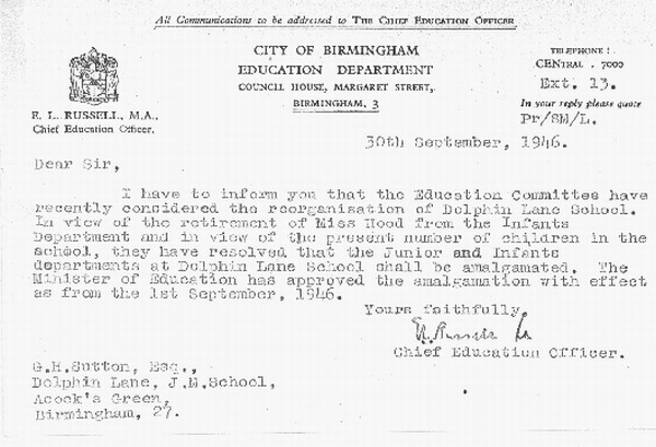 Letter confirming the amalgamation of the school's two departments