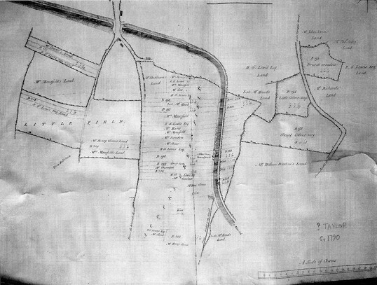 A map of c. 1790 showing the effect of the canal on Acocks Green Field (via David Treadwell)