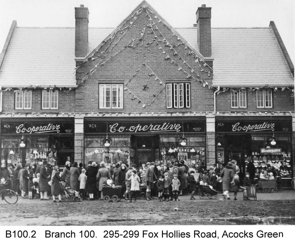 The opening ceremony of the 100th BCS branch at Fox Hollies Road, November 1929. Copyright Central England Co-operative