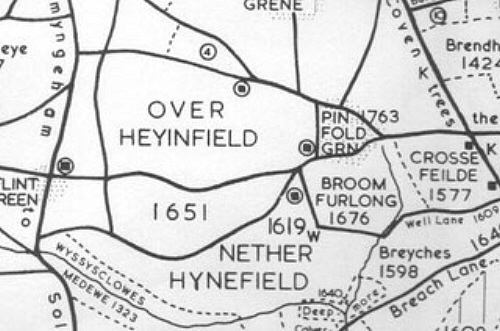 An extract from John Morris Jones' map of medieval Yardley