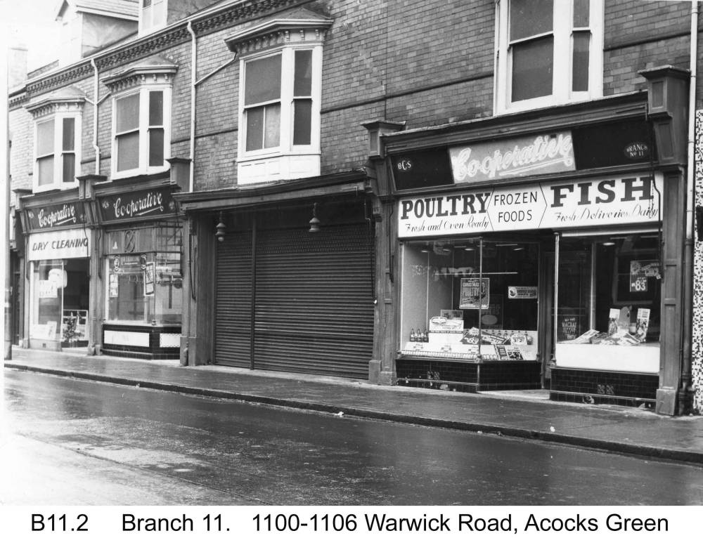 The Warwick Road shops north of Station Road. Copyright Central England Co-operative