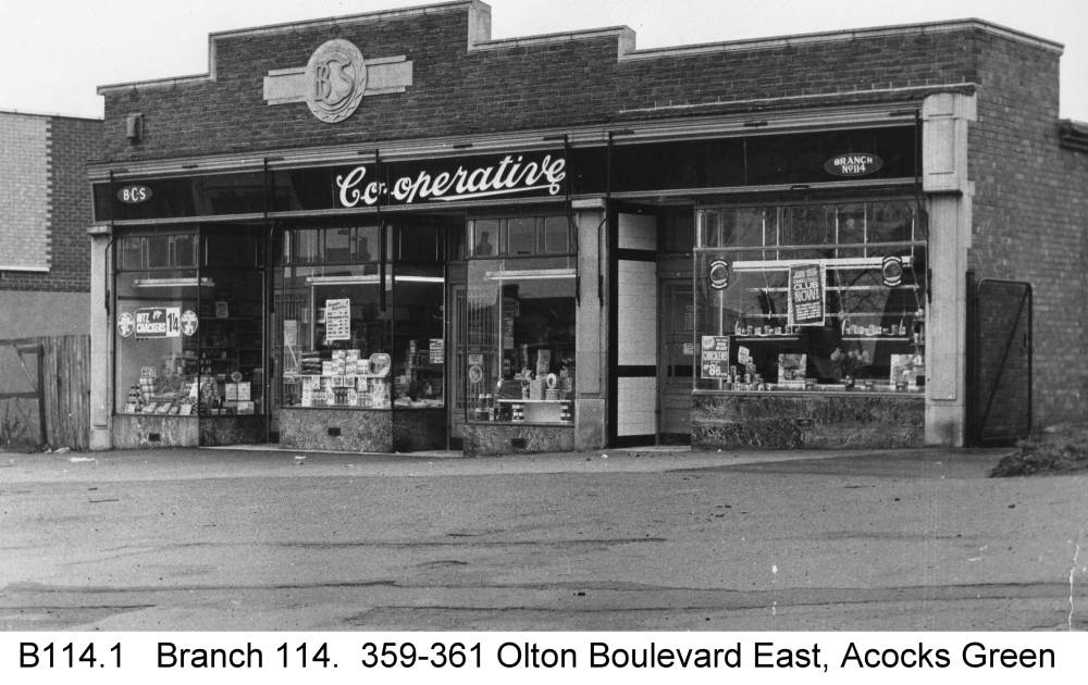 The shops at the end of Olton Boulevard East. Copyright Central England Co-operative