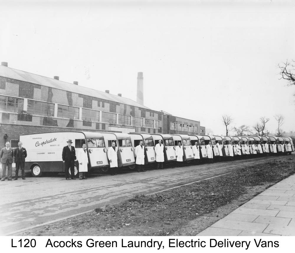 New electric vans at the laundry, 1948. Copyright Central England Co-operative